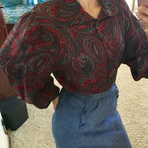 Vintage Ellen Tracy bell sleeve red silk blouse